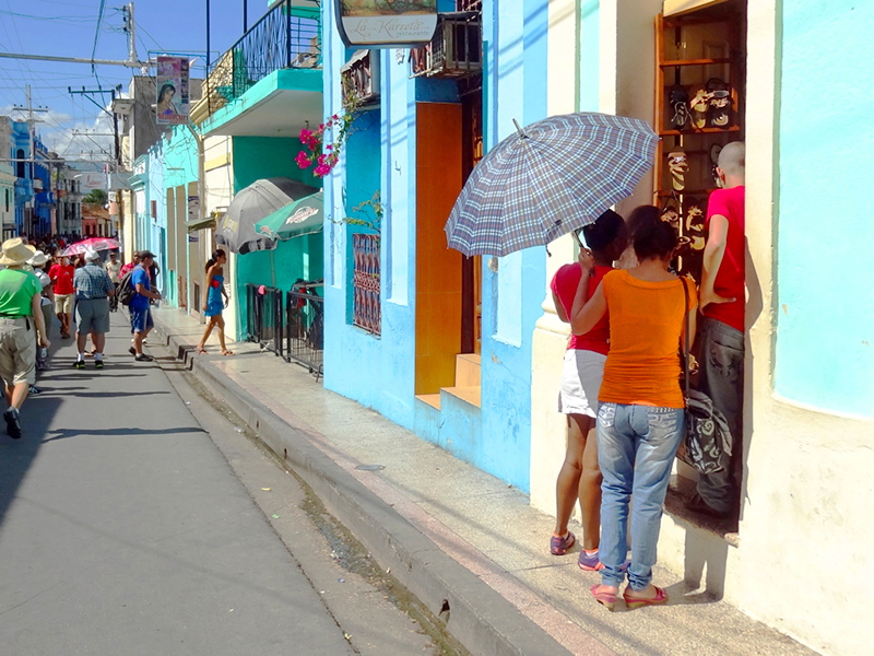 people on street in Cuba