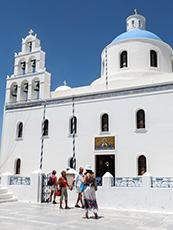 The church in Oia in Santorini