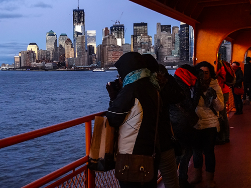 A view of the New York City skyline from the Staten Island Ferry