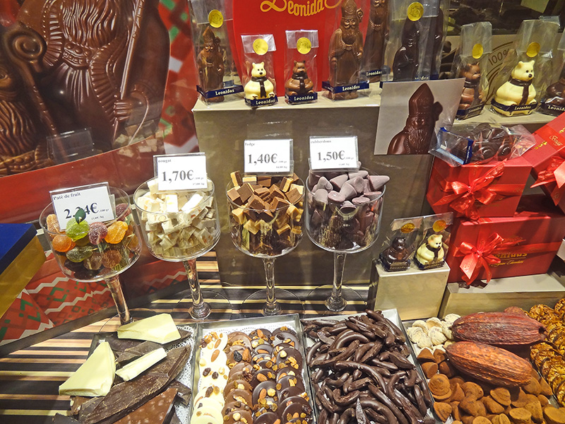 chocolates in a shop window