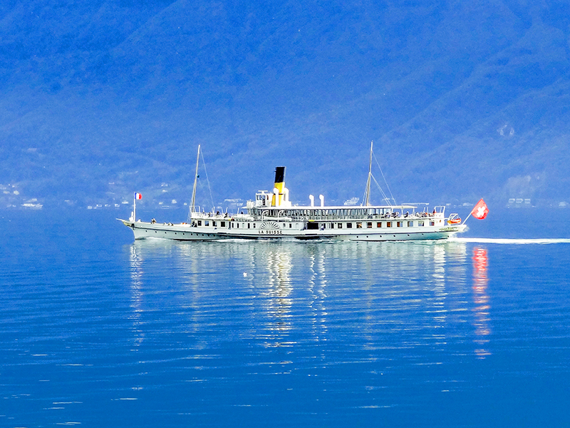 an old steamship on a day trip from Geneva
