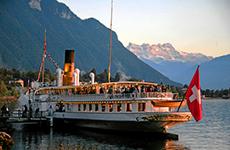 A ferry dockside on Lake Geneva, Swtizerland