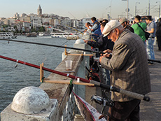 Fishermen on the Bosporus in Istanbul