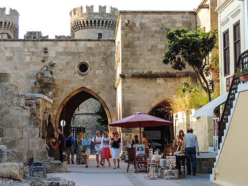A gate in the city wall in Mediterranean