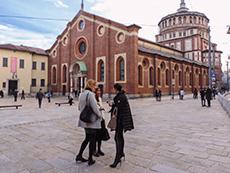 Outside Santa Maria delle Grazie in Milan