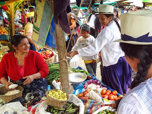 Indians at market at Gualaceo, Ecuador