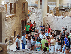 tour group at Akrotiri on Santorini among my memorable travel experiences