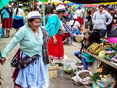 Indian women at market, Gualaceo, Ecuador