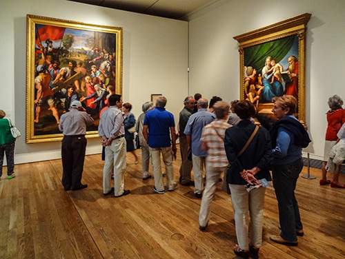 Crowd in gallery, Prado Museum, Madrid, Spain