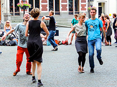 People dancing in the street in Utrechtv among my memorable travel experiences
