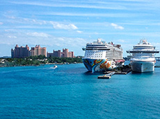 ships at anchor in Nassau Harbor