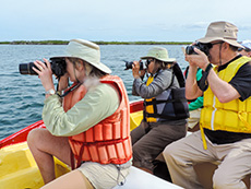 people taking photos from a boat in Galapagos
