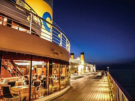deck of a cruise ship at night