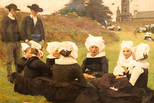 painting of two men standing by a group of nuns seated on the grass in Lisbon