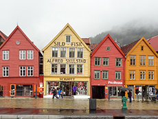 Hanseatic buildings in Bergen, Norwary in Scandinavia