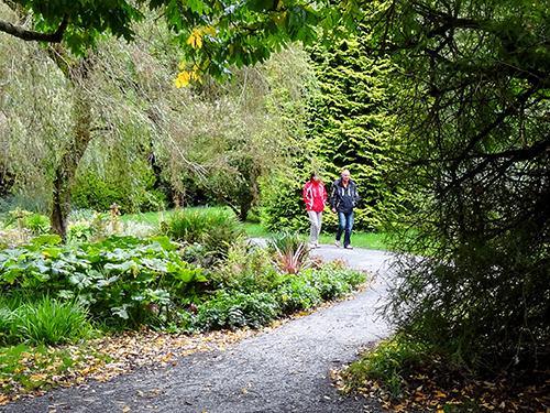 a couple on a path walking through a formal garden in Ireland