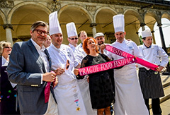chefs at a ribbon cutting ceremony in European food festivals