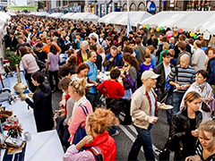 crowds at a food fair in Europe