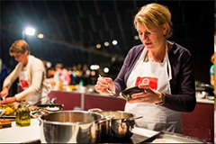 women demonstrating cooking in Europe