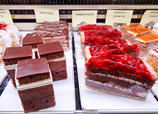 strawberry and chocolate pastereies in a display in Salzburg