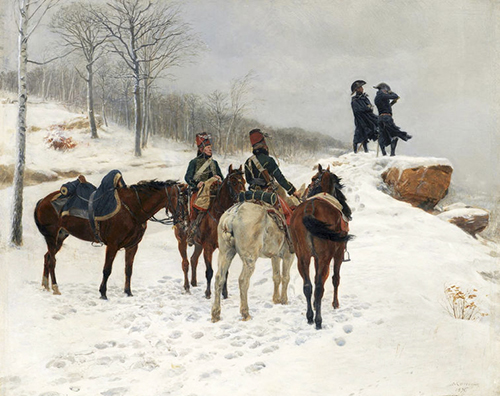 paining of men on horseback in teh snow in Dublin
