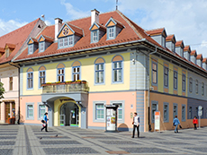 an old building on a European town square
