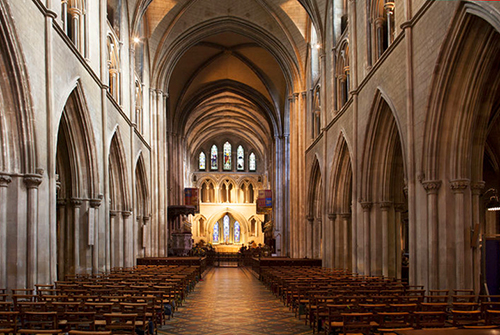 the interior of an old catheral in Dublin