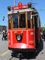 an old red trolley car in Istanbul