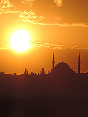 minarets and mosque at sunset in Istanbul