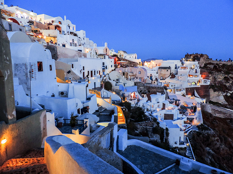 houses on a hillside at dusk in Europe