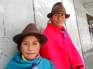 a South American indian mother and daughter in Cuenca