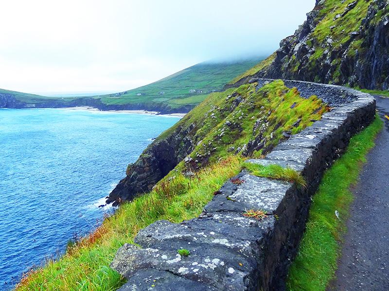 a wall alongside a road on the Dingle Pensinsula -- Dingle Ireland