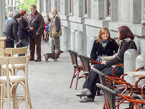 people sitting in a café in Ljubljana