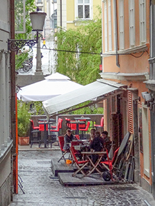 a café in an alleyway in Ljubljana