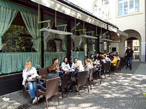 people seated at a café