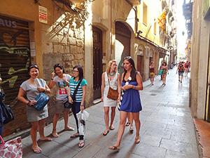 people walking along a street