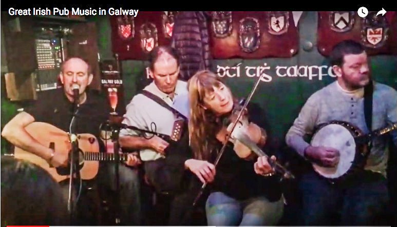 playing Irish music in a pub in Galway