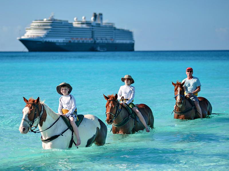 horseback riding in the ocean near the Eurodam