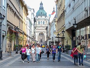 people walking on a European street