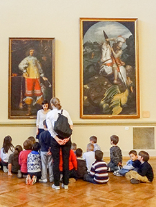 children at a European museum