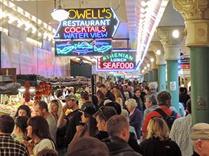 a crowd in a market