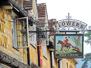 a British pub sign
