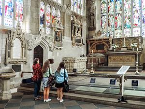 women inside an old church