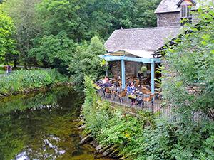 a cafe on a river