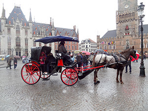 a horse and carriage Bruges, Belgium