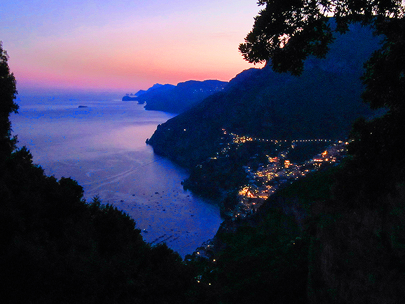 An Amalfi coastal town at dusk