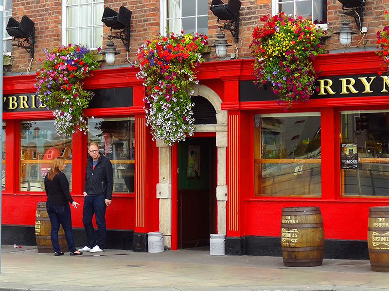 a red painted pub in Ireland