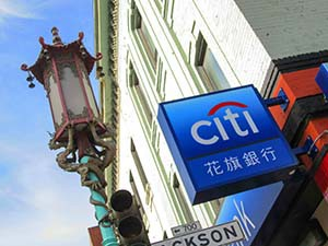 a bank sign in chiatown san francisco