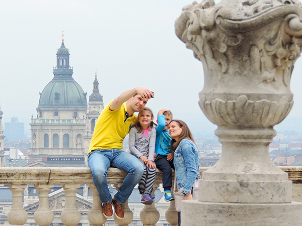 a family taking a selfie in Budapest
