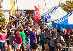 crowd at a food fair in Europe